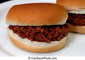 Sloppy Joes - Sloppy joe burgers on white plate