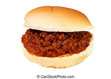 Sloppy Joe - Sloppy joe burger isolated on white background...