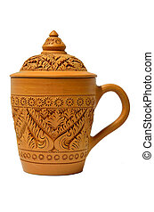 clay cup with Thai pattern style