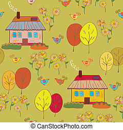 Seamless pattern with houses  at the autumn