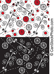 Set of ornate seamless patterns with swirls