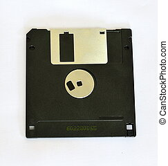 Old diskette 5 25 inches with label isolated on white...