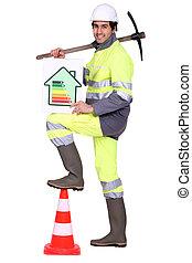 評価, エネルギー, 労働者, 印, 効率, つるはし, 建設, 保有物