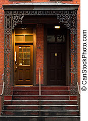 Brownstone doors - Typical brownstone in Greenwich village...