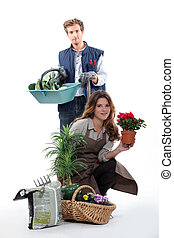 Portrait of a farmer and a florist