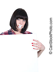 Woman with bandage across her mouth and a board left blank...