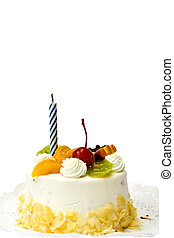 Birthday cake - White birthday cake with fruit and blue...