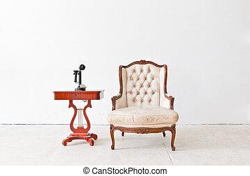 vintage luxury armchair in white room - vintage luxury...