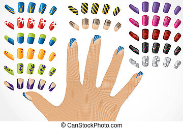 Female hand with painted glossy nails