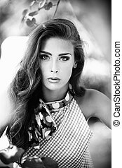 beauty bw - young woman beauty portrait in bw outdoor shot...