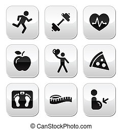 Keep fit and healthy icons on gloss