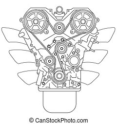 Internal combustion engine, as seen from in front Vector...