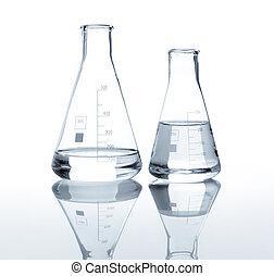 dois, laboratório, frascos, claro, líquido