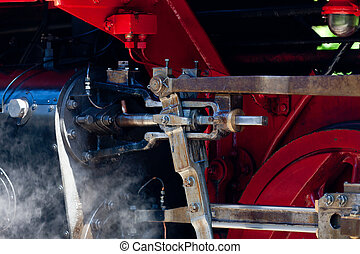 Detail detailed photo of a historic steam locomotive in...