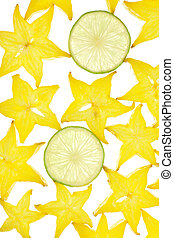 Background from the fruit of carambola slices on white...