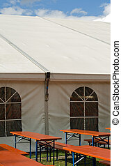 A party or event tent - A white party or event tent with...