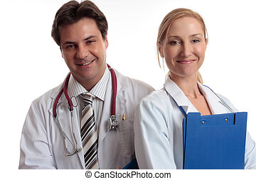 Happy medical staff - Medical Assistance. Male and female...