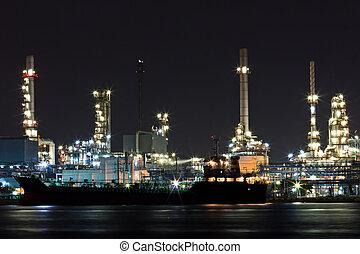 aceite, refinería, planta, por, río, Bangkok