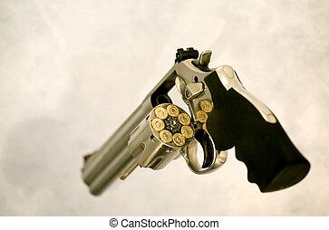 cheio, carregado, magnum, revólver