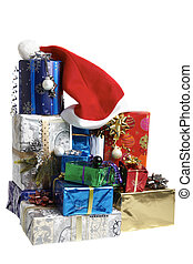 Many colorful Christmas packages put together a bunch with a...