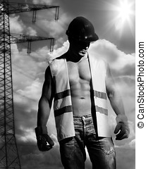 sexy man as construction worker - beautiful and sexy man...