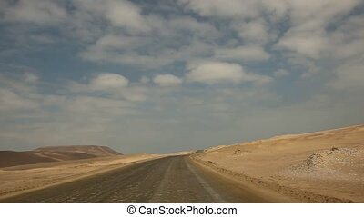 Driving in Desert - TIMELAPSE - video footage of a car / bus...
