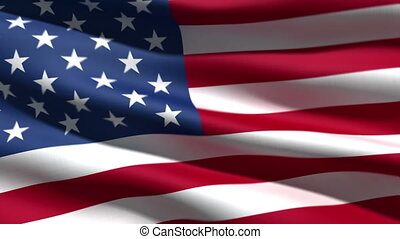 USA flag background, 3d animation perfect seamless loop