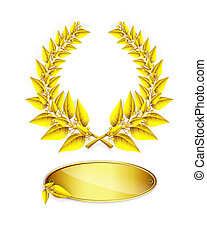 Gold laurel wreath and label for jubilee text on white...