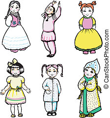 six little girls - Six little girls Set of color vector...