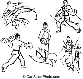Martial art lessons. Set of black and white vector...