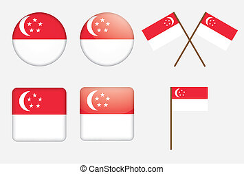 badges with flag of Singapore - set of badges with flag of...