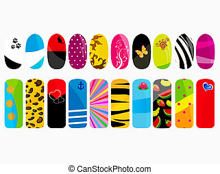 Nail designs - Vector illustration of nail designs
