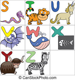 Alphabet with cartoon animals 3