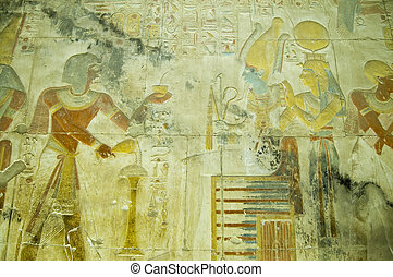 Seti with Osiris and Isis bas relie - Ancient Egyptian bas...