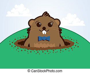 Groundhog on a Hill  - Cartoon groundhog on top of a hill