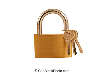 Isolated Brass lock and keys