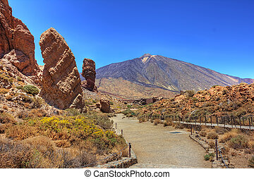 Roques Garcia on Mount Teide - The conical volcano Mount...