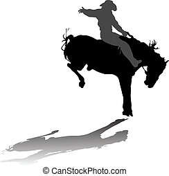 Cowboy on horse silhouette on a white background
