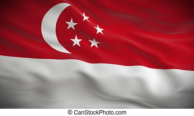 Highly detailed flag of Singapore ripples in the wind Looped...