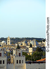 rooftop view Jerusalem Palestine Israel architecture with blue dome mosque Mount of Olives temples churches