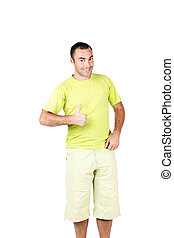 Happy man giving you thumbs up