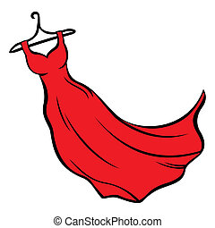 Red dress - Illustration of red dress hanging on coat hanger