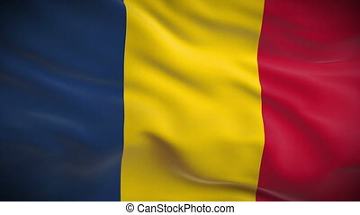 Highly detailed Romanian flag ripples in the wind. Looped 3d...