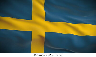 Highly detailed Swedish flag ripples in the wind Looped 3d...