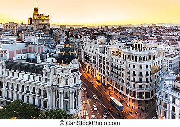 panorâmico, vista, gran, via, Madrid, Espanha