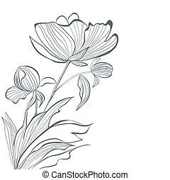 Stylized Peony flowers