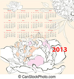 Calendar for 2013 with Peony flowers