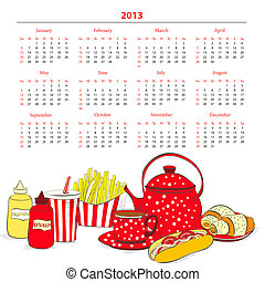 Calendar for 2013 with a lot of food