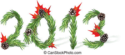 New Year 2013 - Christmas and New Year tree decoration -...