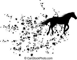 autumnal horse - autumnal vector background with horse,...